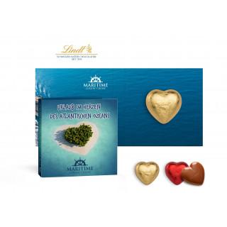 Werbekarte mit Lindt Schokoladen Herzl 5 g | 4c Euroskala