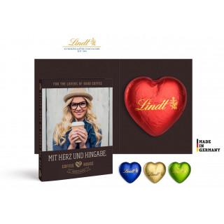 Werbekarte mit Lindt Schokoladen Herz 20 g | 4c Euroskala