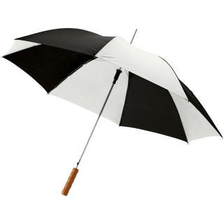 """Lisa 23"""" Automatikregenschirm mit Holzgriff, EXPRESS, schwarz glänzend, weiss"""