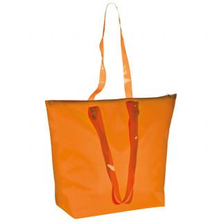 Strandtasche aus Polyester mit transparenten Henkeln, orange
