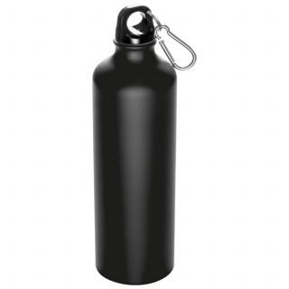 Trinkflasche aus Aluminium mit Karabinerhaken, 800 ml, schwarz