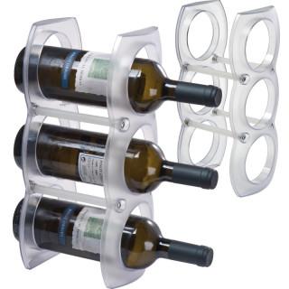 Weinregal aus Kunststoff für drei Flaschen