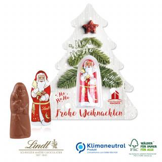 """Schokokarte """"Business"""" mit Lindt Weihnachtsmann - Weihnachtsbaum, Klimaneutral, FSC®-zertifiziert"""