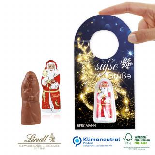 """Schokokarte """"Business"""" mit Lindt Weihnachtsmann - Türanhänger, Klimaneutral, FSC®-zertifiziert"""