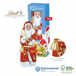 Lindt Weihnachtsmann mit Glöckchen, 70 g, Klimaneutral, FSC®-zertifiziert