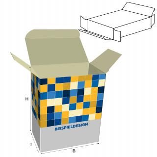 Faltschachteln mit versetzten Einstecklaschen, H: 130 x B: 130 x T: 15 mm, unbedruckt, Standard-Karton