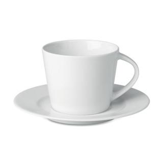 PARIS Cappuccino Tasse und Untertasse, weiß