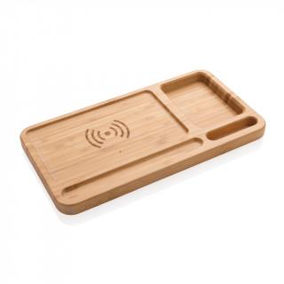Bambus Schreibtisch-Organizer mit 5W Wireless Charger, braun