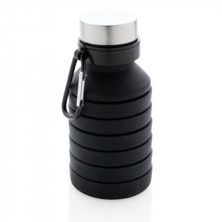 Auslaufgeschützte faltbare Silikonflasche, schwarz