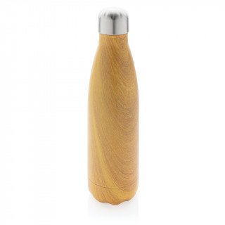 Vakuumisolierte Stainless Steel Flasche mit Holzoptik, gelb