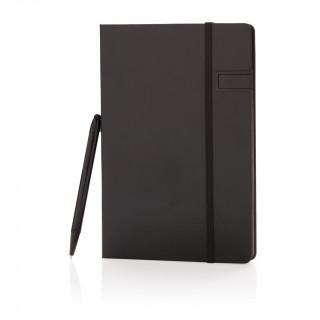 Deluxe 8GB USB Notizbuch mit Stylus, schwarz, schwarz